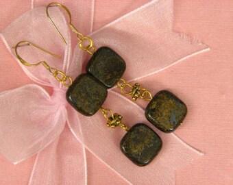 Earrings Bronzite 12mm 2X Square 14K ESBZ1804