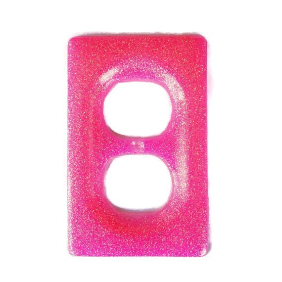 Hot Pink Glitter Resin Wall Light Switch Cover By