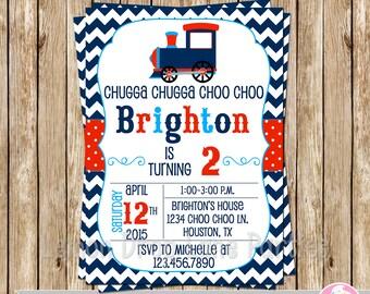 Vintage Choo Choo Train Invite-Train Birthday Invite-Choo Choo Birthday Invitation-DIY-Print Your Own-Navy-Red-Light Blue