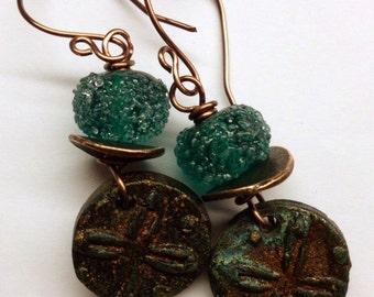Green Rustic Earrings - Ceramic Lampwork Glass Copper Earrings - Wire Wrapped Earthy Earrings - Handmade Jewelry Salakaappi