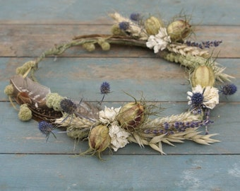 Rustic Autumn Dried Flower Hair Crown
