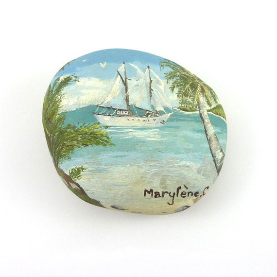 Decorative stone painted with oil painting yacht by for Decorative rocks for sale near me
