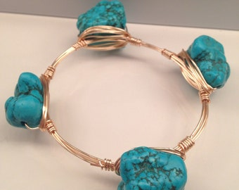 Chunky Turquoise Wire Wrapped Bracelet, Wire Bracelet