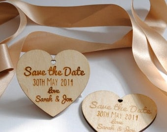 Beautiful Personalised Laser Engraved Wooden 'Save the Date' Hearts
