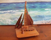 Wooden Hand Carved Sailboat, with Lighthouse ~ Hand Made in Greece