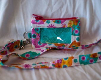 Custom made to order zippered id pouch with lanyard