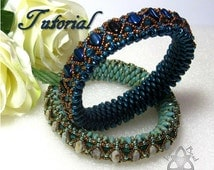 Pdf Tutorial Beadwork Monique Bangle with Silky Beads,  Super Duo Beads, Fire Polish Crystals and Seed Beads. Pattern, Instructions.