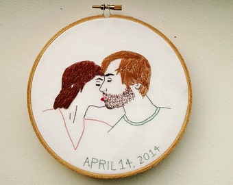 """Hand Embroidered Custom Couples Portrait. Hand Stitched Hoop Art. Valentine's Day, Anniversary, or Wedding Gift. Engagement Announcement. 6"""""""