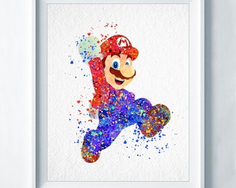 Super Mario Art Print Mario Print Nintendo Video Game Nursery Art Playstation Gaming Watercolor Home Decor Baby Shower Gift Room Decor A76
