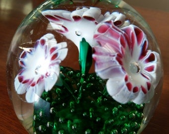 Paperweight - Glass white, green, and red floral design.