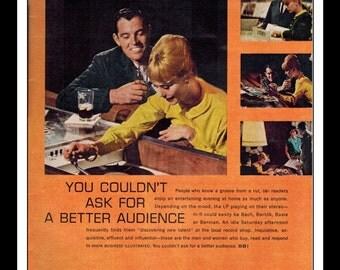 "Vintage Print Ad 1960's : SBI Show Business Illustrated Record Player LP Vinyl Art Decor 8.5"" x 11"" Advertisement"