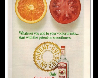 "Vintage Print Ad November 1967 :Gordon's Vodka Fruit Wall Art Decor 8.5"" x 11"" Advertisement"