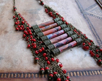 Necklace - red necklace - ethnic necklace - women - A woman from the Highlands