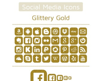Gold Glitter Social Media Icons - Set of 32 - 160 Icons in total