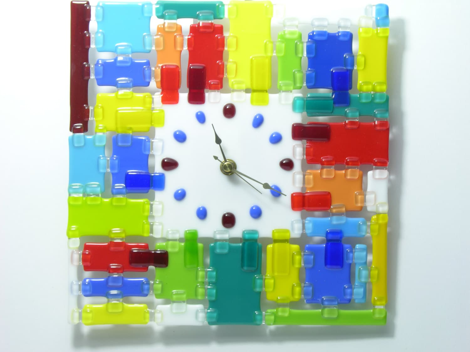 Fused glass wall clock by gamesofcolors on etsy for Fused glass wall clocks