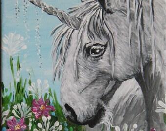 Unicorn acrylic canvas painting unicorn art original art wall art unicorns fantasy art