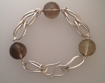 Sterling silver Etruscan chain link bracelet with large faceted smoky quartz (LCB006)