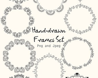 Instant Download - Hand drawn Frame Set - Vector, doodle, drawing, frames, flowers, digital files for personal and commercial use