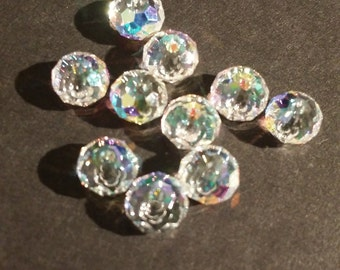 6mm Crystal AB Rondelle Spacer Beads 10 pieces