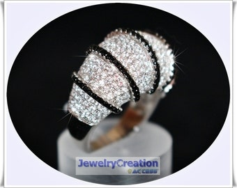 Glamorous Dome Ring in 925/- Silver with Cubic Zirconia