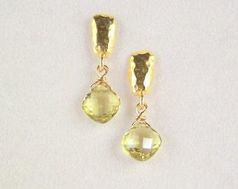 Yellow Topaz gemstone Vermeil Gold petite post dangle earrings pastel gold