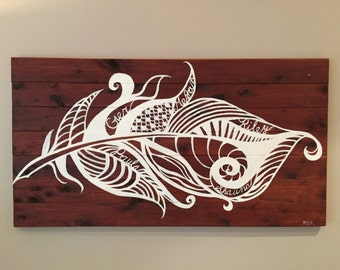 Personalized feather silhouette on stained recycled wood panels