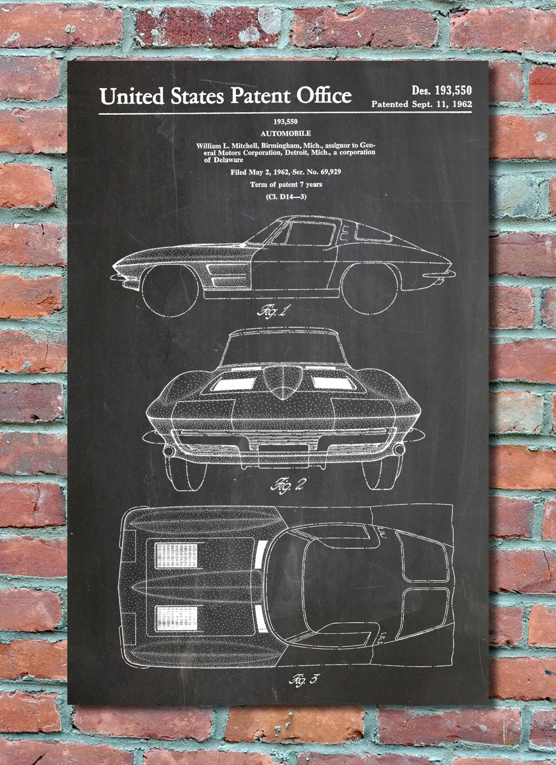 Entrancing 50 blueprint wall art inspiration of blueprint wall art blueprint wall art corvette stingray patent wall art print corvette patent art malvernweather Gallery