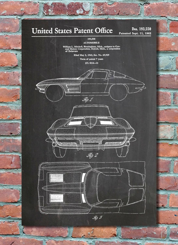Blueprint Wall Art corvette stingray patent wall art print corvette patent art