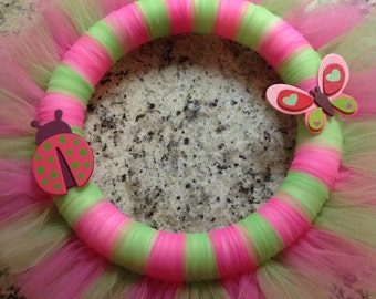 Pink and green tulle wreath