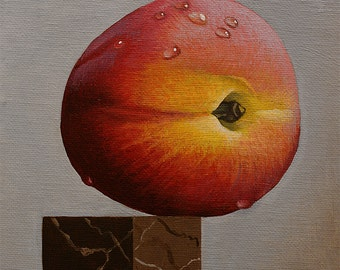 On the Edge peach fruit acrylic painting