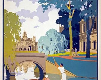 Cambridge vintage railway poster