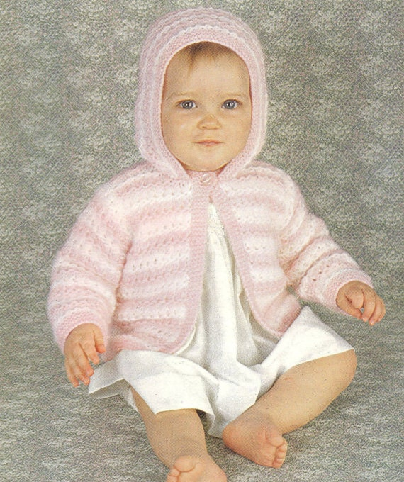 Knit Baby hooded Cardigan Sweater Vintage Pattern toddler