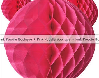 "10"" (25 cm) Pink Honeycomb TISSUE PAPER BALL Pom -- pif . pay it forward . aok . act of kindness . free . clearance sale"