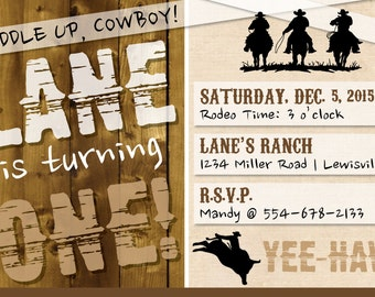 Saddle up, partner! Cowboy-themed/rodeo/western birthday party 4x6 invitation