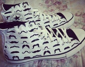 Whiskers Hand Painted Shoes, Custom Converses For All Handsomes