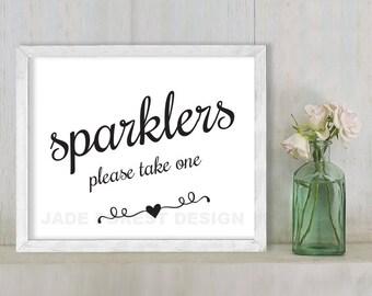Sparklers, Please Take One // Wedding Sign DIY // Elegant Calligraphy Printable Poster PDF // Classic Elegance ▷ Instant Download