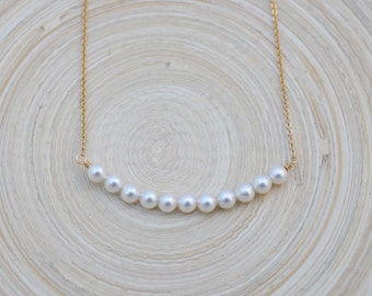 Pearl Bar Necklace, Simple Pearl Necklace, Pearl and Gold Bar Necklace, Pearl Necklace, Curved Pearl Bar Necklace