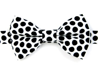 Black and white polka dot bow tie, Black and white bow Tie,Halloween bow ties for Men,Toddlers ,Boys