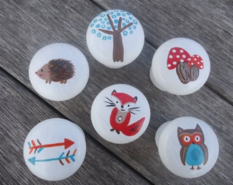 Handpainted wooden Drawer Woodland Knobs - Set of 6