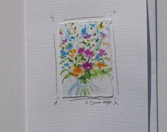 """notecard """"Flowers in Vase"""" original watercolor, blank card"""