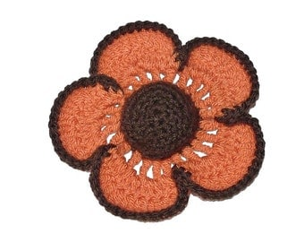 Crochet Flower Brooch Knitted Flower Corsage Shawl Flower Pin Floral Hat Brooch ORANGE and BROWN