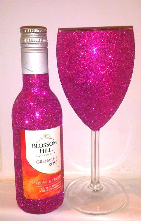 mini wine bottle glitter glittered wine by glittermeetsglass
