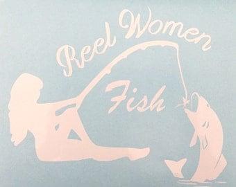 "Fishing decal sticker ""Reel Woman Fish"""
