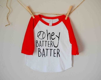 Hey batter batter kids raglan tee