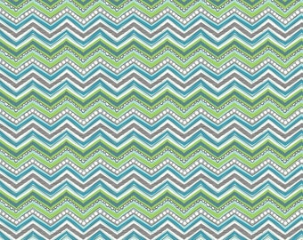 Rippling Waves Green Cotton Fabric, Chevron Fabric, Quilting Fabric, 100% Cotton - Fat Quarter Chevron Fabric