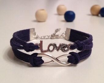 15 Colors - Love Infinity Bracelet Antique Silver Mini Charm Bracelet - Friendship bracelet - Leather bracelet - Unisex