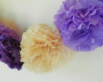 ivory, lavendar, purple flower garland