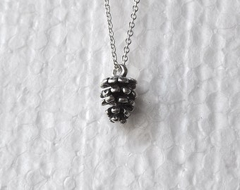 Small Pinecone Necklace Sterling Silver Pendant Lightweight Chain Minimal Jewelry