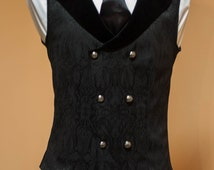 Double-breasted men's black vest  victorian style Made to order