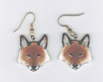 Fox Earrings Red Original Hand Painted